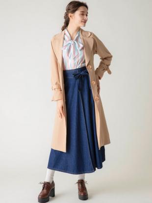 ブルー 【C】ウエストリボンデニムラップスカート dazzlinを見る