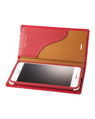 レッド Croco Patterned Full Leather Case for iPhone 7/8を見る