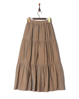 ブラウン ティアードスカートを見る