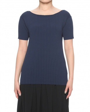 navy Tight neck rib topsを見る