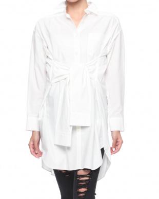 オフホワイト 袖付きロングシャツ 無地を見る
