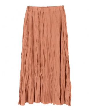 オレンジ ワッシャープリーツスカートを見る