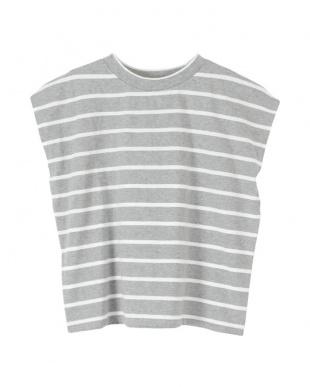 杢グレー/ホワイト フレンチスリーブTシャツを見る