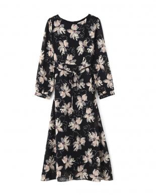 ブラック FLOWER PATTERN DRESSを見る