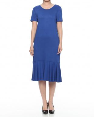 ブルー 裾フリル ロングワンピースを見る