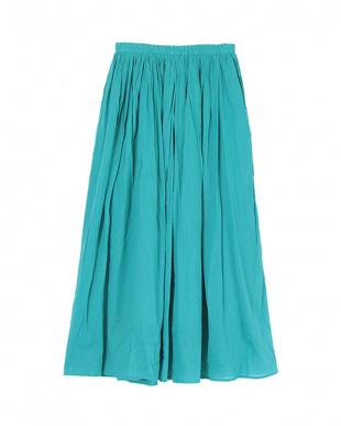 ブルー コットンボイルボリュームスカートを見る