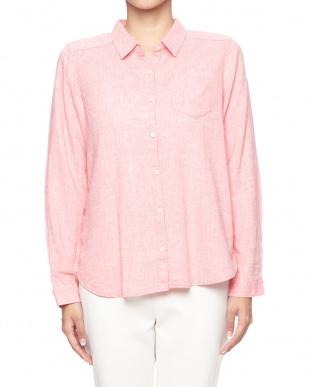 ピンク フレンチリネンレギュラーシャツを見る