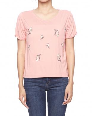 オレンジ [RAY CASSIN]花刺繍Tシャツを見る
