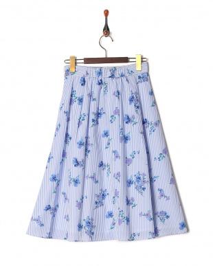 ブルー系 [S・LLサイズあり]ストライプ×フラワースカートを見る