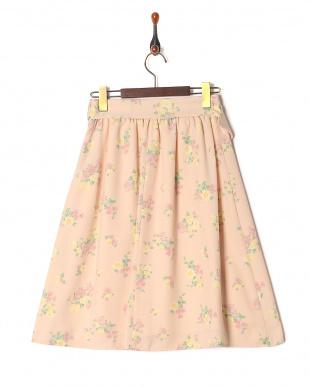 ピンク系 [S・LLサイズあり]サッシュつきフラワーフレアスカートを見る