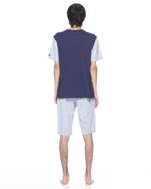 ネービーブルー ルームウェア天竺ストライプオックス半袖半パンツを見る