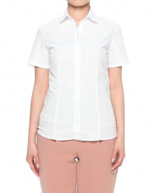 ホワイト ブロードシャツスキッパー半袖を見る