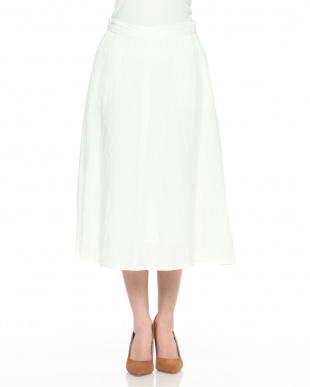 オフホワイト イタリア素材 ビスコースリネン フレアースカートを見る