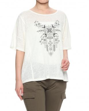 オフホワイトXブラック リネン100%ジャージー プリントTシャツを見る