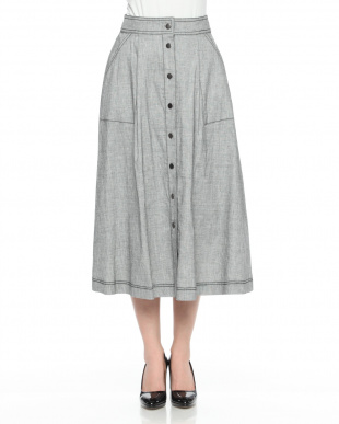 グレー系 イタリア素材 リネン混 タック フレアースカートを見る