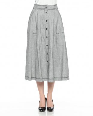 ブラウン系 イタリア素材 リネン混 タック フレアースカートを見る