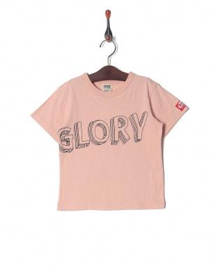 サーモンピンク ロゴ刺繍半袖Tシャツを見る