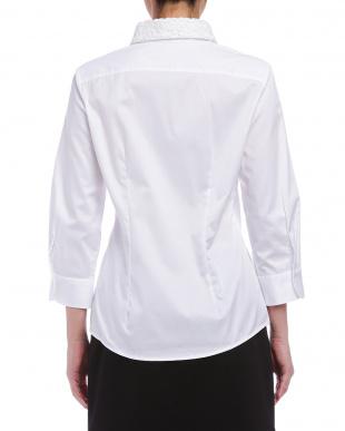 ホワイト  コットンツイル 襟レース 七分袖シャツを見る