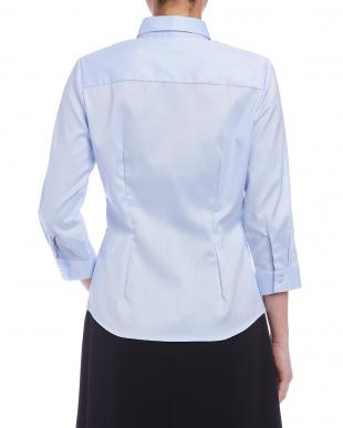 ブルー  オックスフォード スモールカラー 七分袖シャツを見る