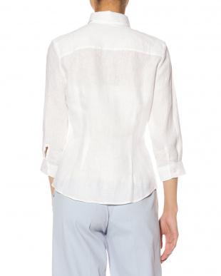 ホワイト  リネン ロールアップタブ 七分袖シャツを見る