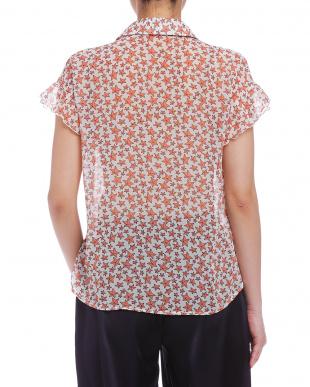 オレンジ  スターフィッシュプリント フレア 半袖シャツを見る