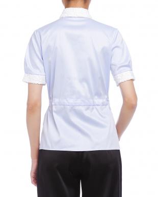 ブルー  ツイル ウエストリボン レース使い 半袖シャツを見る