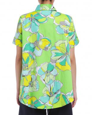 グリーン グラフィカルフラワープリント テントライン 半袖シャツを見る