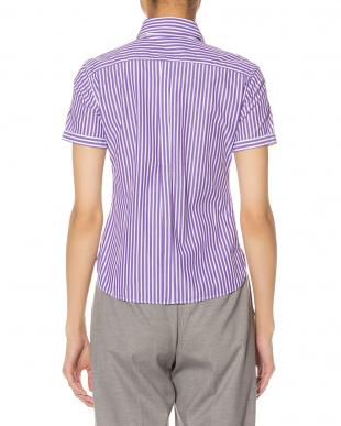 パープル ストライプ 半袖シャツを見る