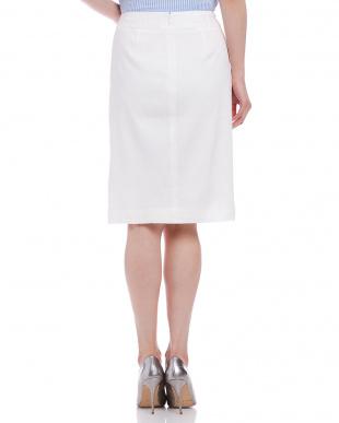 ホワイト  リネンストレッチ タイトスカートを見る