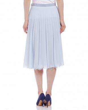 ブルー  裾レース シフォン プリーツスカートを見る