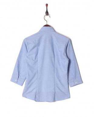ブルー系 七分袖 形態安定 レディース ウィメンズシャツ スキッパー衿 サックスを見る