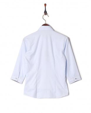 ブルー系 七分袖 形態安定 レディース ウィメンズシャツ レギュラー衿 サックス×ネイビーを見る