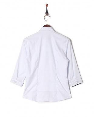 ブルー系 七分袖 形態安定 レディース ウィメンズシャツ ワイド衿 サックス×ネイビーを見る