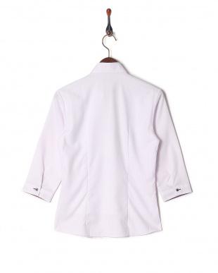パープル系 七分袖 形態安定 レディース ウィメンズシャツ スキッパー衿 刺し子生地×チェックを見る