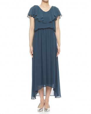 GREEN BLUE フィッシュテールシフォンロングワンピースドレスを見る
