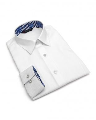 ホワイト系 長袖 形態安定 レディース ウィメンズシャツ レギュラー衿 白×ダイヤチェック織柄を見る