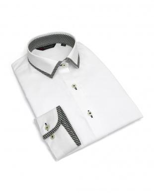 ホワイト系 レディース ウィメンズシャツ 長袖 形態安定 パイピング風 ワイド衿 白×ストライプ織柄(透け防止)を見る