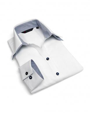 ホワイト系 長袖 形態安定 レディース ウィメンズシャツ スキッパー ダブル衿 白×ストライプ織柄(透け防止)を見る