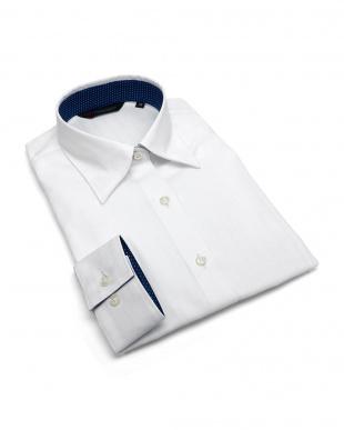 ホワイト系 長袖 形態安定 レディース ウィメンズシャツ レギュラー衿 白×ストライプ織柄(透け防止)を見る