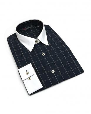 ブルー系 レディース ウィメンズシャツ 長袖 形態安定 クレリック レギュラー衿 ネイビー×ベージュチェックを見る