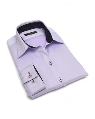 パープル系 レディース ウィメンズシャツ 長袖 形態安定 スキッパー衿 綿100% パープル×ヘリンボーン織柄を見る