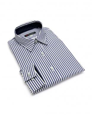 ブルー系 レディース ウィメンズシャツ 長袖 形態安定 レギュラー衿 綿100% ブルー×白ストライプを見る