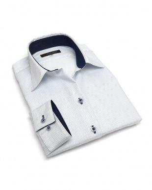 ブルー系 レディース ウィメンズシャツ 長袖 形態安定 スキッパー衿 綿100% 白×サックスストライプを見る