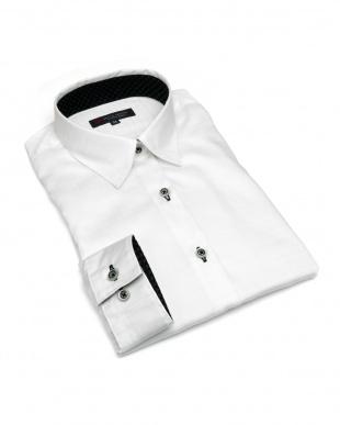 ホワイト系 レディース ウィメンズシャツ 長袖 形態安定 レギュラー衿 綿100% 白×チェック織柄を見る