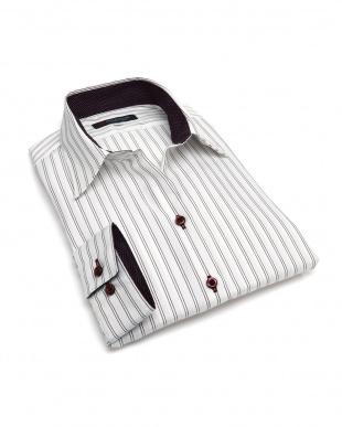 ピンク系 レディース ウィメンズシャツ 長袖 形態安定 スキッパー衿 綿100% 白×エンジストライプを見る
