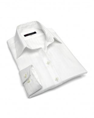 ホワイト系 レディース ウィメンズシャツ 長袖 形態安定 スキッパー衿 綿100% 白×ストライプ織柄を見る