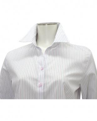 パープル系 七分袖 形態安定 レディースシャツ スキッパー衿 白×パープル、ブルー、ピンクストライプを見る