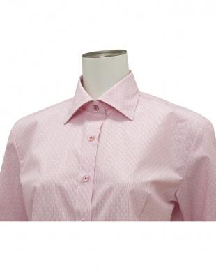 ピンク系 七分袖 形態安定 レディースシャツ ワイド衿 ピンク×白ドットを見る