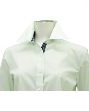 グリーン系 七分袖 形態安定 レディースシャツ レギュラー衿 白×ライトグリーンチェックを見る