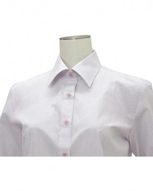ピンク系 七分袖 形態安定 レディースシャツ レギュラー衿 白×パープルストライプを見る